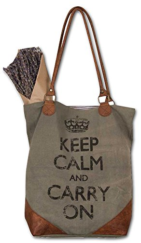 Keep Calm and Carry On Canvas and Leather Tote Bag Overnighter Bag Handbags