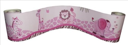 Wall Border for Pink Safari Baby Bedding Set By Sisi