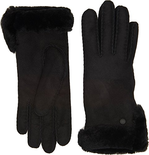 UGG Women's Side Vent Sheepskin Gloves with Slim Pile Black MD by UGG