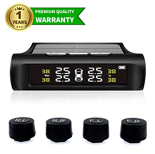 Spurtar TPMS Car Tire Pressure Monitoring System Solar Power Universal Wireless LCD Display with 4 External Sensors Real-time Display
