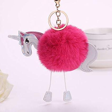 Amazon.com: Unicorn Keychain Artificial Pompoms Fur Ball ...