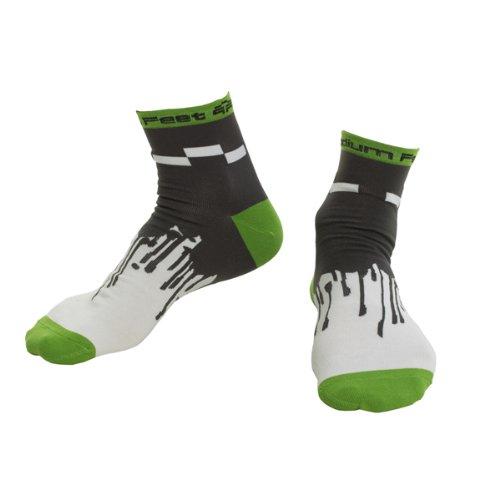 Podium Feet Men's Block Drip Socks (White/Green, Small/Medium)