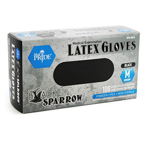 Medpride Medical Examination Latex Gloves| Black, 5 mil Thick, Medium Box of 100| Powder-Free, Non-Sterile, Heavy Duty Exam Gloves| Professional Grade for Tattoo Artists, Caterers & More