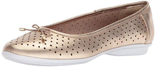 CLARKS Women's Gracelin Lea Ballet Flat, Gold/Metallic Leather, 8 Medium - Lea Gold