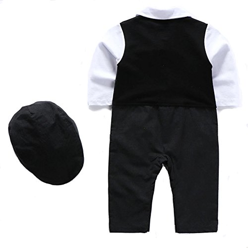 1Pcs Baby Boy Long Sleeves Jumpsuit Tuxedo Clothing Set With Berets Cap and Bowtie