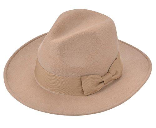 Aniwon Retro Fedora Hat Woolen Felt Hat Bowknot Jazz Cap for Women (Felt Fedora Hats)
