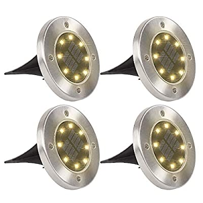 GIGALUMI 8 Pack Solar Ground Lights, 8 LED Solar Powered Disk Lights Outdoor Waterproof Garden Landscape Lighting for Yard Deck Lawn Patio Pathway Walkway