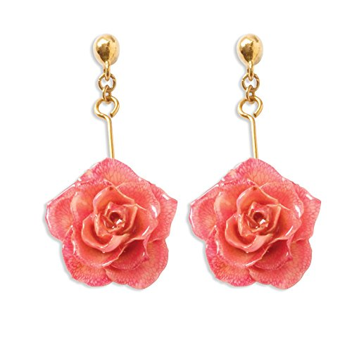 Lacquer Dipped Pink Rose Drop Dangle Chandelier Post Stud Earrings Flower Gardening Fashion Jewelry Gifts For Women For Her