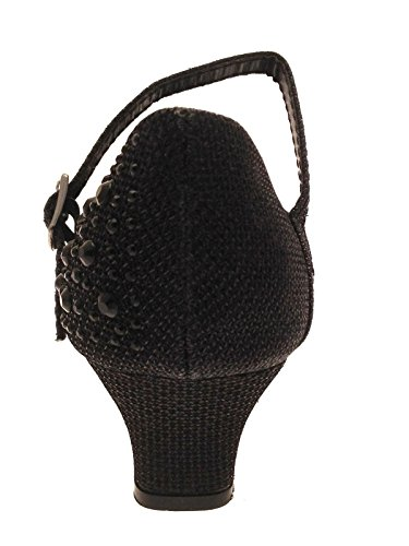 Party-Schuhe für Mädchen, Mary Jane-Schuhe, mit Glitzersteinen, niedriger Absatz, für Brautjungfern, Schwarz - schwarz - Größe: 31 EU Kind