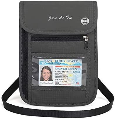 Super Ma Travel Neck Pouch Neck Stash Wallet with RFID Blocking Premium Family Passport Holder Travel Document Organizer Pouch Keep Your Cash and Documents Safe for Men and Women