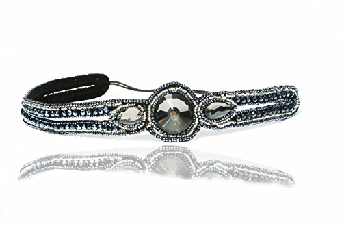 Blue Oval Beaded Rhinestone Headband Elastic Stretch Headwrap with Style Guide 20 Differnt Ways to Wear