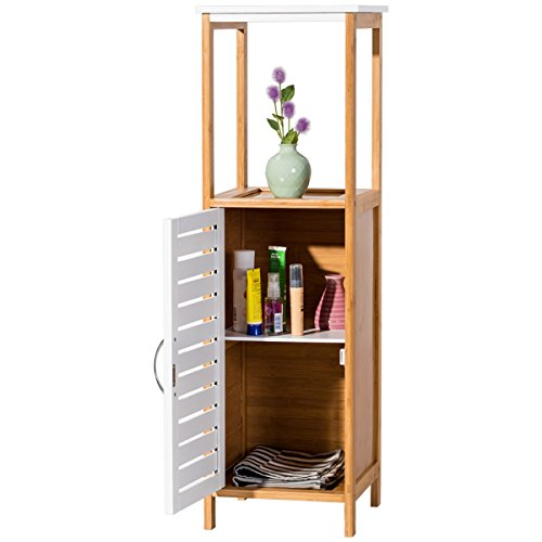 TANGKULA Bathroom Storage Bamboo 4-Tier Multifunctional Free-standing Storage Shelf Cabinet by TANGKULA