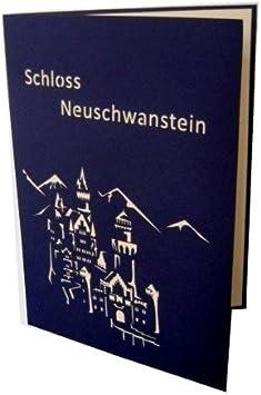 en Allemagne Carte de voeux 3D pop up architecture Le ch/âteau de Neuschwanstein bleu//ivoire en allemand: Schloss Neuschwanstein
