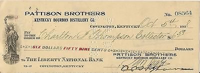 1918 Pattison Brothers Kentucky Bourbon Covington Ky. Cancelled Check Pre Pro