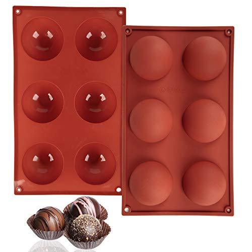Gigilli Silicone Chocolate Mold, 6 Holes Round Semi Sphere Silicone Mold for Making Hot Chocolate Bomb, Cake, Jelly…