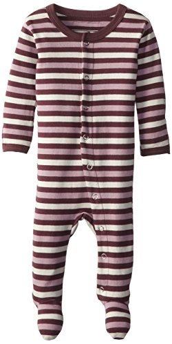 L'ovedbaby Unisex-Baby Organic Cotton Footed Overall, Eggplant Stripe, 3-6 Months