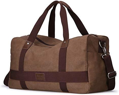 メンズ荷物袋 ミニマルファッションキャンバスバッグ週末旅行のための男性の女性の上で一晩バッグ荷物ジムスポーツショルダーバッグクロスボディバッグキャリー 柔らかく快適な耐摩耗性 (色 : Khaki, Size : 31x18x42cm)