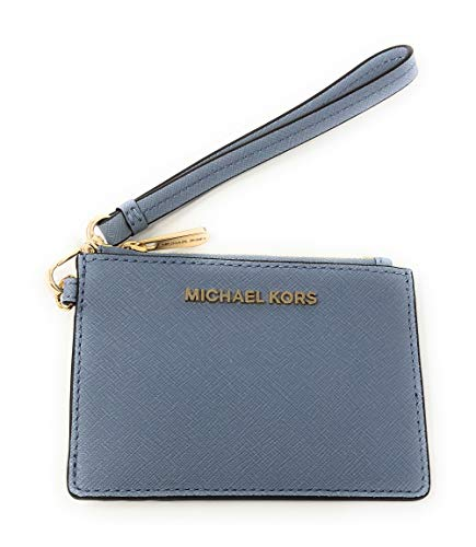 Michael Kors Jet Set Travel Top Zip Coin Pouch ID Card Case Wallet Wristlet in Pale Blue/Navy, Small