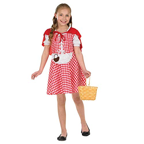 fun shack Girls Little Red Riding Hood Costume Kids Fairytale Dress & Cape - Large