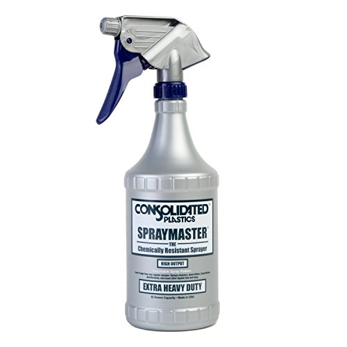 Consolidated Plastics Chemical Resistant Spraymaster Spray Bottle with Leakproof Sprayer, HDPE, Gray, 32oz, 6 Piece