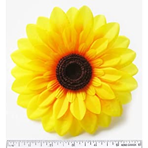 "(2) Silk Yellow Big Sunflowers sun Flower Heads , Gerber Daisies - 5.5"" - Artificial Flowers Heads Fabric Floral Supplies Wholesale Lot for Wedding Flowers Accessories Make Bridal Hair Clips Headbands Dress 71"