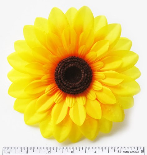 12-Big-Silk-Yellow-Sunflowers-Sun-Flower-Heads-55-Artificial-Flowers-Heads-Fabric-Floral-Supplies-Wholesale-Lot-for-Wedding-Flowers-Accessories-Make-Bridal-Hair-Clips-Headbands-Dress