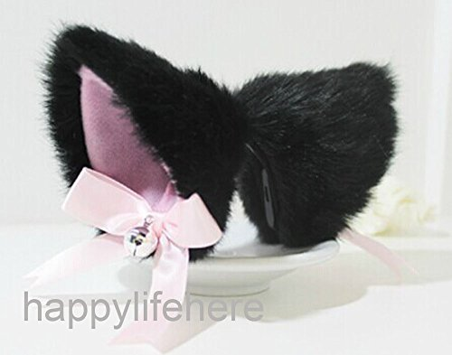 Hot Sweet Lovely Anime Lolita Cosplay Fancy Neko Cat Ears Hair Clip Black with Bell (Anime Girl With Fox Ears And Tail)