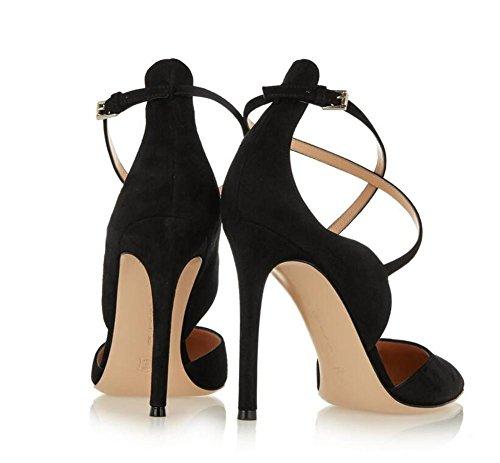39 stivali flanella tacco 38 il con punta aguzzi ginocchio donne laser delle sopra discoteche XIE alti stivali zampe qacC11