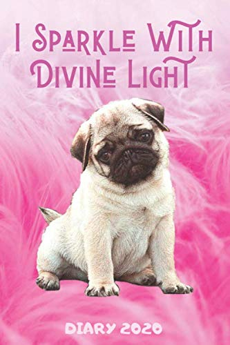 Diary 2020: I Sparkle With Divine Light Spiritual Pug Monthly Week to View Planner Pink Luxury Fur