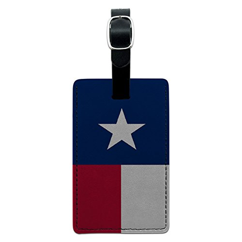 (Graphics & More Texas Flag Leather Luggage Id Tag Suitcase Carry-on, Black)