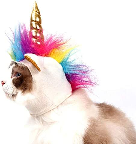NACOCO Cat Unicorn Hat with Ear Hole for Small Dogs Puppy, Cat Costume Accessory for Halloween, Cosplay Mane Cap 17
