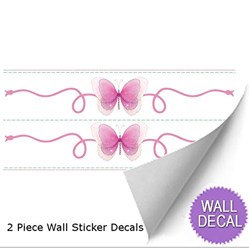 Butterfly Wall Mural Vinyl Stickers Dark Pink 2 Piece Scrolls Butterflies Decals Children Nursery Baby Room Decor Girls Bedroom Decorations Kid Child Murals Art Birthday Party Playroom Home Graphics (Birthday Scroll)