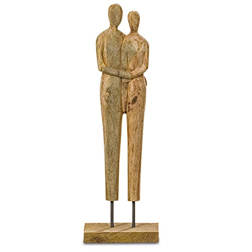 - WHW Whole House Worlds Couple Together, Power of Love Theme, Wooden Sculpture, Artisinal Design, Hand Carved Sustainably Harvested Mango Wood, Gallery Base, 22 Inches Tall