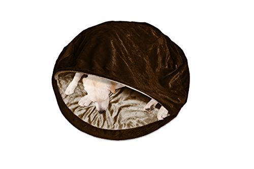 FurHaven Round Snuggery Burrow Pet Bed - Saddle Brown - 35