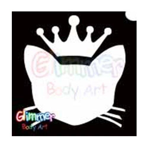 Glimmer Body Art Glitter Tattoo Stencils - Royal Kitty Cat (5/pack) (Kitty Cat Halloween Face Makeup)