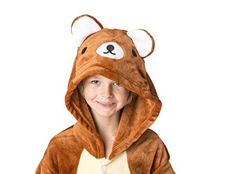 Childrens Teddy Boy Costume (Ultra Soft Unisex, Boys, Girls Pajamas Kigurumi Costume for Kids (Small, Teddy Bear))
