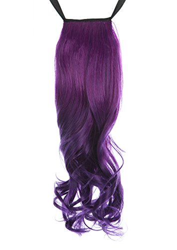 PINKISS Brand High Quality Japanese Synthetic Fiber Fashion Pony Tail Wig Hair Piece Extension (4Wx18L Curly, Purple Indigo Gradient)