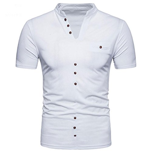 (GREFER Men's Summer Casual Solid V Neck Button Pullover Short Sleeve T-Shirt Top Blouse (L, White))
