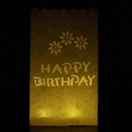 Vela burgues bolsas de papel (30) - feliz cumpleaños: Amazon ...
