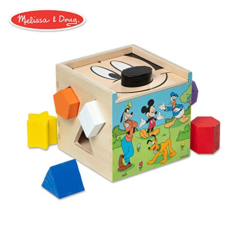Melissa & Doug Mickey Mouse & Friends Wooden Shape Sorting Cube Baby Toy]()
