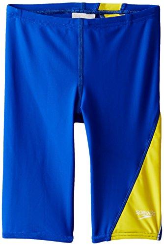 Speedo Big Boys' PowerFLEX Eco Revolve Splice Jammer Swimsuit, Sapphire/Gold, 24