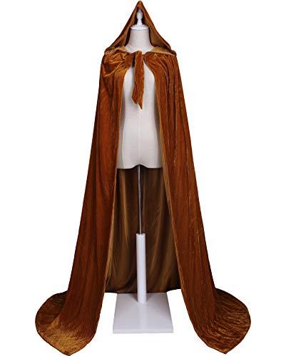 (LuckyMjmy Unlined Velvet Medieval Renaissance Hooded Cloak Cape (Large, Dark Gold))