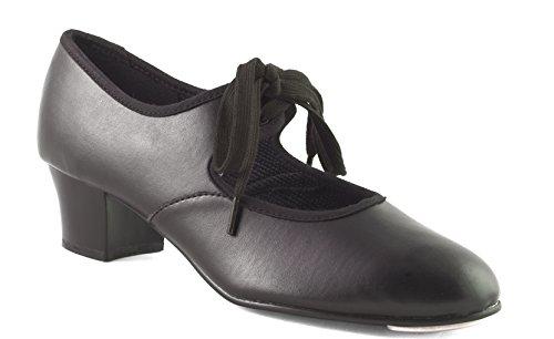 CHP tacón de negra PVC cubano con puntera y Gear de tacón zapatos Dance Ow51fc