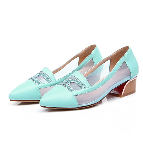 Amoonyfashion Mujer Pull On Pointed Closed Toe Low Heels Materiales De Mezcla Solid Pumps-Zapatos Blue