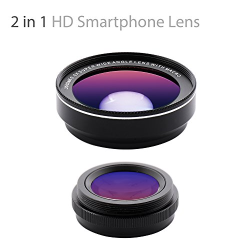 Ubittek iPhone Camera, 0.5x 140° Wide Angle + 15x Macro Clip-on Cell Phone Camera Lens Kit for iPhone X/8/8 Plus/ 7/7 Plus /6s/6s Plus/6/5 & Samsung Note 8/S8/S8 Plus/S7/S7 Edge & Most Smartphones