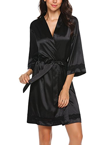 Ekouaer Women's Satin Kimono Robe V-Neck Short Bathrobe with Silk Lace Trim Sleepwear S-XXL