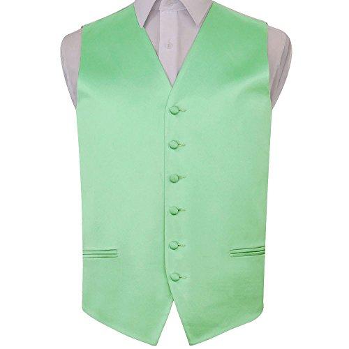 Premium Satin Plain Solid Mint Green Men's Wedding Waistcoat Vest - 40