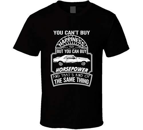 1967 Pontiac Firebird Cant Buy Happiness Can Buy Horsepower Car Lovers T Shirt 2XL Black ()