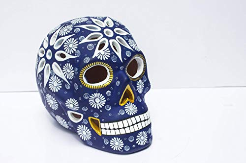 (Art Skull Head - Navy Blue - Hand made ceramic sculpture painted by Mexican Artisians- Home Decor - Skeleton Decoration - Calavera Artesanal )