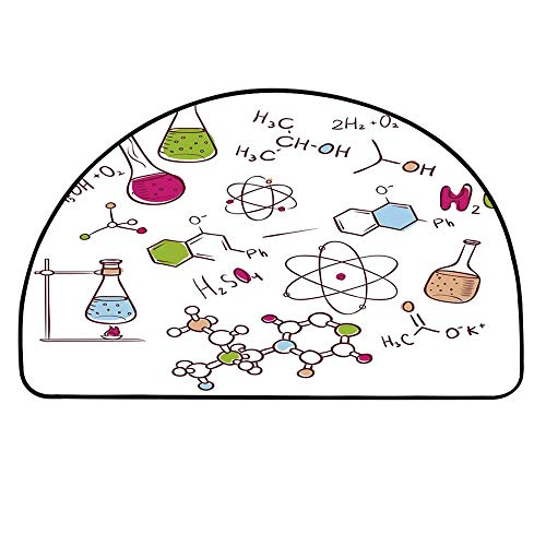 YOLIYANA Educational Doormat,Doodle Style Hand Drawn Chemistry Composition with Atom Molecules Flask Decorative Entryway Mat,19.6